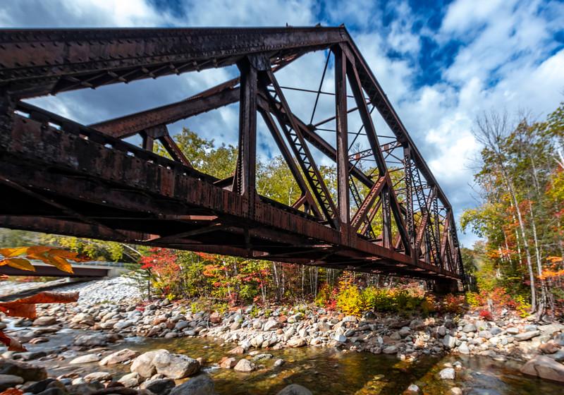 Autumn Foliage Around Railway Trestle Bridge In The White Mountains, NH 10/5/20