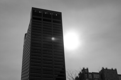 Afternoon glare, downtown Boston, mono