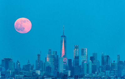 Full Moon Rising Over Southern Manhattan 6/9/17