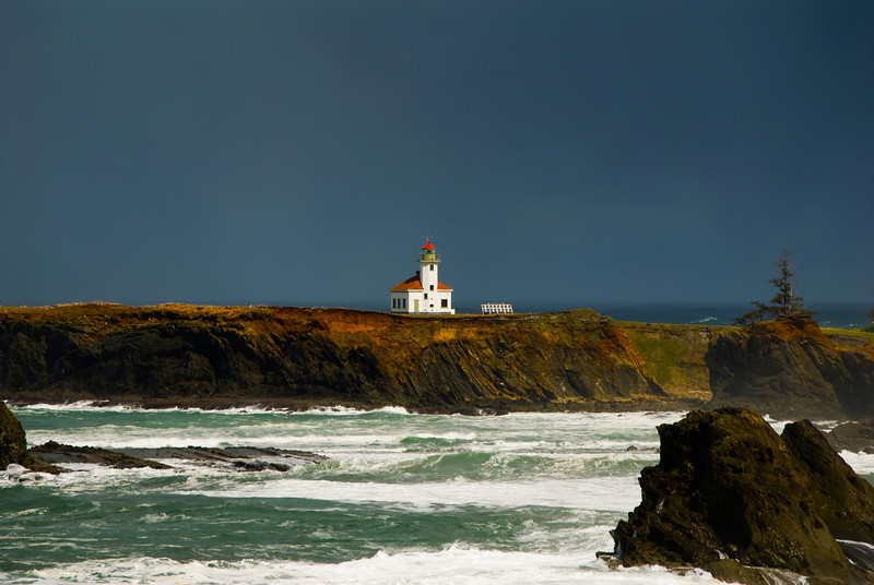 Cape Arago Lighthouse<br /> Twelve miles southwest of the cities of North Bend and Coos Bay just off the Pacific Coast Scenic Byway
