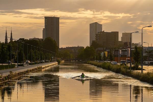 Roeiers over het stadskanaal, Eindhoven