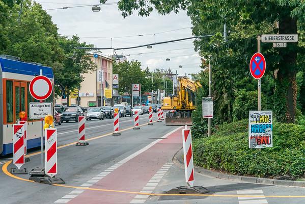 Baustelle Heidelberger Straße beim Prin-Amil-Garten, 19. Juli 2019 (Foto: Christoph Rau)