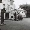 """Open-Air-Konzert mit """"La Source Bleue"""" (Michael Bossong, Thomas Honecker, Michael Distelmann und versteckt am Schlagzeug Bülent Ates) im Jagdhof Bessungen vor dem Jazz-Institut am 31. Juli 2016"""