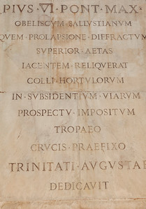 Roman Script on Obelisco Sallustiano in Rome, Italy