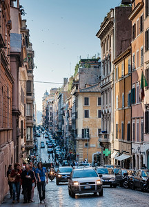 Old street in the centre of Rome, Italy