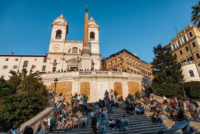 Spanish Steps with tourists in Rome, Italy