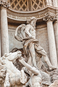 God of the Sea in Trevi Fountain in Rome, Italy