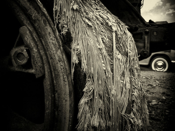 A whole and decayed wheel.