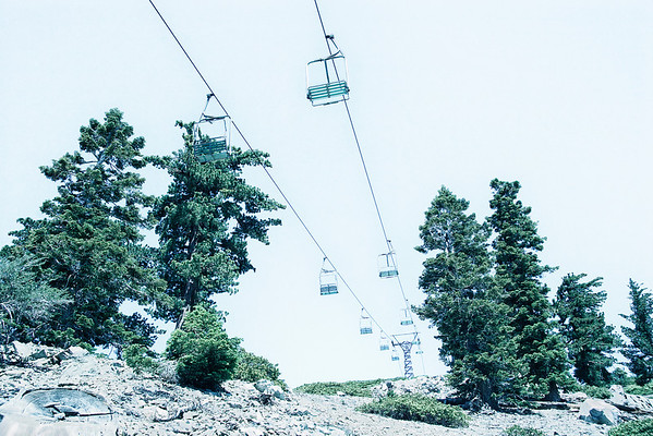 Ski lift carriages echo back through a canyon of pine trees disappearing behind the horizon. The sense of scale and weightlessness is enhanced from this low angle.