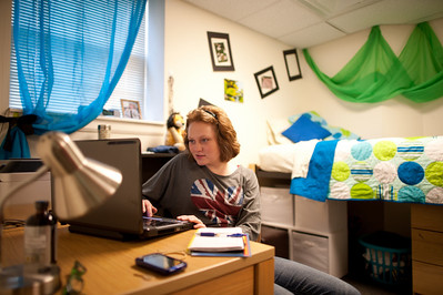 Heron Residence Hall room with students