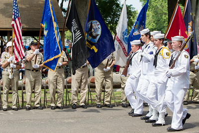 US Naval Sea Cadets march to retire the flag Sunday during the American Legion Post 45 Watch Fire ceremonies in Meriden Jun. 14, 2015 | Justin Weekes / For the Record-Journal