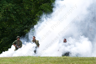 Sons of the American Legion Edward Lamb left Commander Lewis Harper and Sargent Bill Rudnick approach the watch fire Sunday during the American Legion Post 45 Watch Fire ceremonies in Meriden Jun. 14, 2015 | Justin Weekes / For the Record-Journal