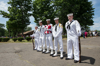 US Naval Sea Cadets prepare to present the folding of the flag Sunday during the American Legion Post 45 Watch Fire ceremonies in Meriden Jun. 14, 2015 | Justin Weekes / For the Record-Journal
