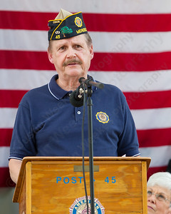 American Legion Post 45 Comander Tony Gianakos Sunday during the American Legion Post 45 Watch Fire ceremonies in Meriden Jun. 14, 2015 | Justin Weekes / For the Record-Journal