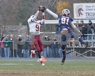 Sheehan #9 and Lyman Hall #81 recivers go up for ball