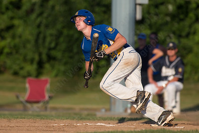 Meriden's Aidan Clancy (38) watches his bunt pop up Wednesday during the American Legion 17U tournament at Ceppa Field in Meriden Jul. 29, 2015 | Justin Weekes / For the Record-Journal