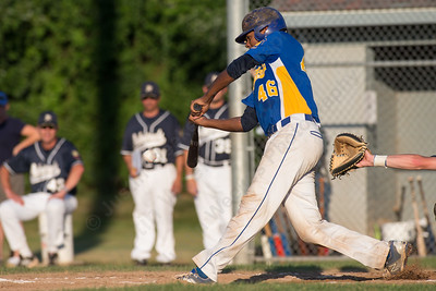 Meriden's Jeff Morales (46) makes contact Wednesday during the American Legion 17U tournament at Ceppa Field in Meriden Jul. 29, 2015 | Justin Weekes / For the Record-Journal