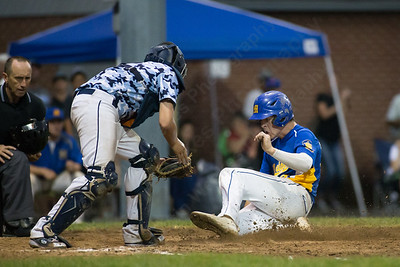 Meriden's Gary Costello (39) tries to beat the throw home Thursday during the American Legion Junior southern divisional finals at Ceppa Field in Meriden Jul. 30, 2015 | Justin Weekes / For the Record-Journal