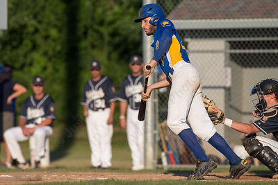 Meriden's Colton Altmannsberger (34) watches his hit after making contact on a check swing Wednesday during the American Legion 17U tournament at Ceppa Field in Meriden Jul. 29, 2015 | Justin Weekes / For the Record-Journal