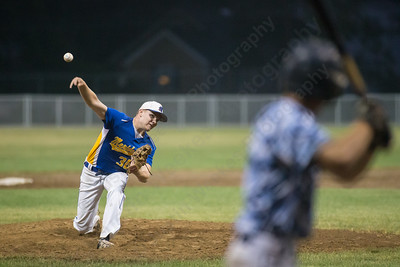 Meriden's Jeff Massicotte (36) delivers a pitch to Stamford's Mike Grafstein (8) Thursday during the American Legion Junior southern divisional finals at Ceppa Field in Meriden Jul. 30, 2015 | Justin Weekes / For the Record-Journal