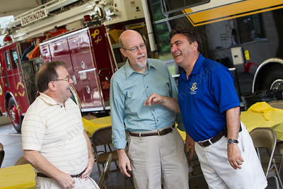 Ernie Mirando left talks with Senator Joe Markley and State Representative David Zoni Saturday for the Milldale School Reunion at Engine Company 3 on Clark Street in Milldale Jul. 18, 2015   Justin Weekes / For the Record-Journal