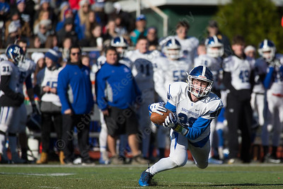Southington's Jamie Lamson  just misses catching a pass Thursday during the 22nd Annual Apple Classic on Thanksgiving Day at Alumni Field on the campus of Cheshire High School in Cheshire. The Blue Knights of Southington defeated the Cheshire Rams 30 to 22. November 23, 2017 | Justin Weekes / For the Record-Journal