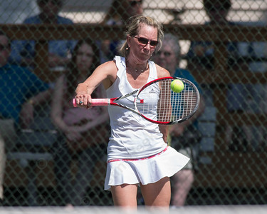 Linda Kirk in the womens A singles final Sunday during the Wint Filipek Sr. Tennis Tournament held at Copper Valley Club in Cheshire Jun. 14, 2015 | Justin Weekes / For the Record-Journal