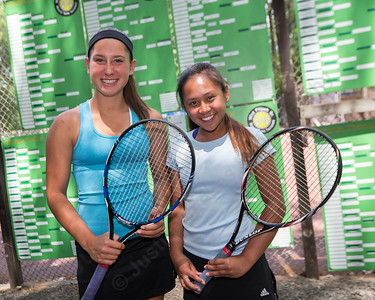 Alex Barmore and Angela Balaoing faced off with Justine Hoover and Monika Krah in the high school doubles final  Sunday during the Wint Filipek Sr. Tennis Tournament held at Copper Valley Club in Cheshire Jun. 14, 2015 | Justin Weekes / For the Record-Journal