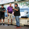 The LenDows doo-wop group, from left, Tom Lennon, Paul McCormack, and Dan Lennon Sr., stopped by the Item on Tuesday and did a pop-up performance for the staff.