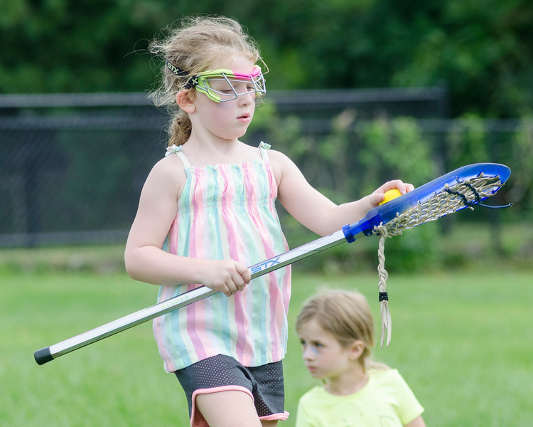 Violet Pierce puts the ball back in her stick.