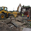 Revere, MA--Friday Aug 18, 2017--A demolition team from a company called Plumb House begins work on the demolition of Wonderland Greyhound Park.<br /> <br /> Daily Item Staff Photo/Jim Wilson