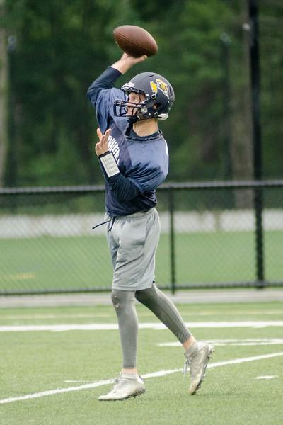 08/18/2017. Lynnfield football practice. Quarterback Matt Mortellite makes a pass.
