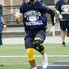 08/18/2017. Lynnfield football practice. Nick Kinnon hops over obstacles during a drill.