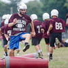 08/18/2017. English football practice. Sean Calnan jumps over pads during a drill.