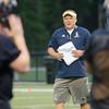08/18/2017. Lynnfield football practice. Head coach Neil Weidman gives directions in a drill.