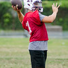 08/18/2017. English football practice. Quarterback Matt Severance makes a pass.