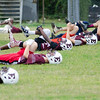 08/18/2017. English football practice. The Bulldogs stretch before practice.
