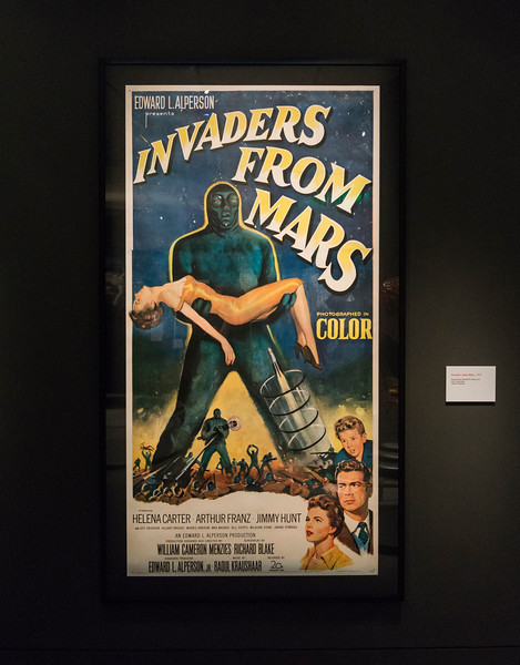 """An Invaders from Mars poster from 1953 on display in the """"It's Alive!"""" exhibit at the Peabody Essex Museum."""