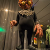 """The original prop collar from Invasion of the Saucer-Men, 1957, on a Saucer-man figure created in 2011 on display in the """"It's Alive!"""" exhibit at the Peabody Essex Museum."""