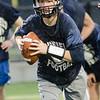 08/18/2017. Lynnfield football practice. Quarterback Matt Mortellite runs with the ball.