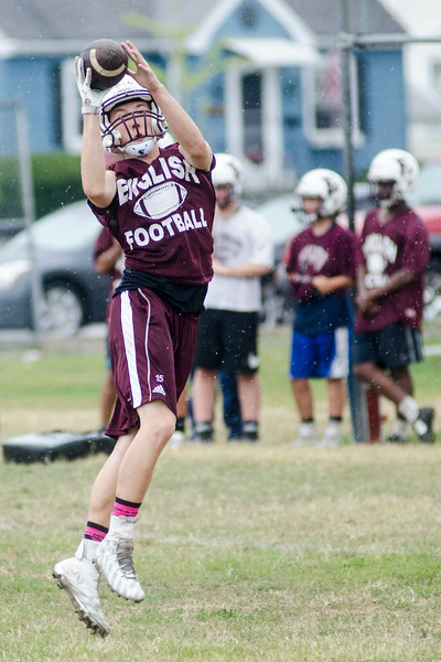 08/18/2017. English football practice. Thomas Gaylord makes a catch.