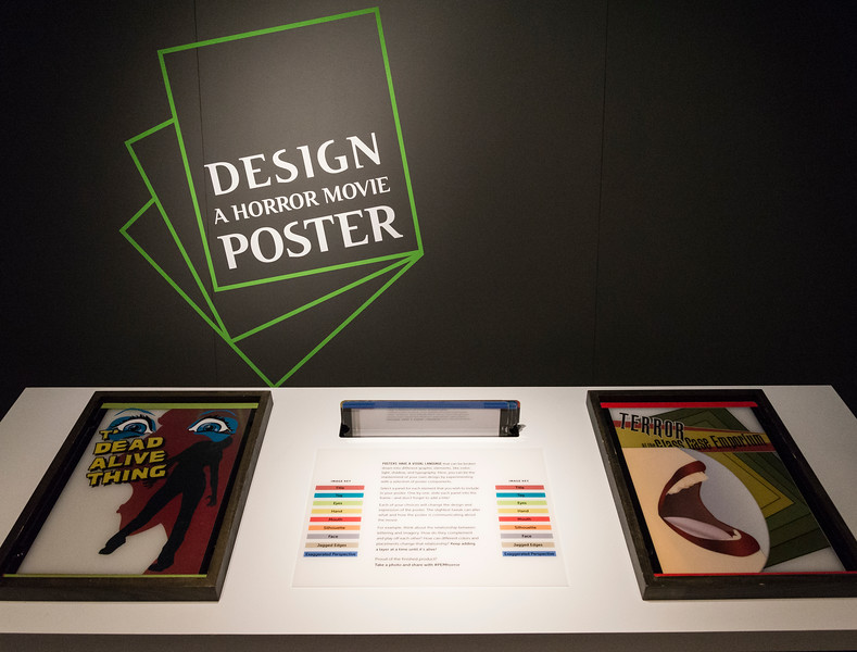 """Patrons can design their own horror movie poster as they walk through the """"It's Alive!"""" exhibit at the Peabody Essex Museum."""