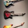 "Metallica guitarist Kirk Hammet's personal guitars on display in the ""It's Alive!"" exhibit at the Peabody Essex Museum."