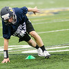 08/18/2017. Lynnfield football practice. John Lee gets low during an agility drill.