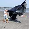 Lynn, Ma. 9-4-17. Richie Salvo launching his blue whale klite at Lynn Beach today.