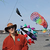 Lynn, Ma. 9-45-17. Glenn Davison, the president of Kites Over New England with some of his kites on Lynn  Beach today.