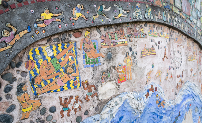 Details of the mosaic mural at Heritage State Park.