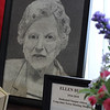 Portrait of Ellen Burns, 1916-2010, by Nichole Lowe, on the piano in the mulit-purpose room at the Saugus Library. Photo by Owen O'Rourke