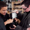 Alexis Villar, 14, left, and Justis McMahon, 16, set up video equipment in the Raw Arts Real to Reel film school on Tuesday, January 15. Item Photo / Angela Owens.
