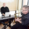 Jazz music by Marty Rowen, Reading, at the keyboard and Paul Ahlstrand, saxaphone., Stoneham.